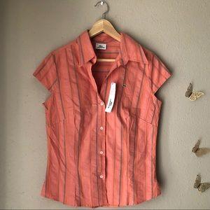 Lacoste Orange Button Down Shirt